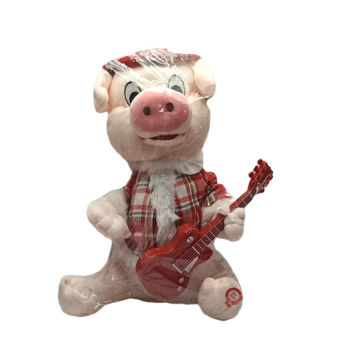 Мягкая игрушка Поросёнок с гитарой (муз) 3880