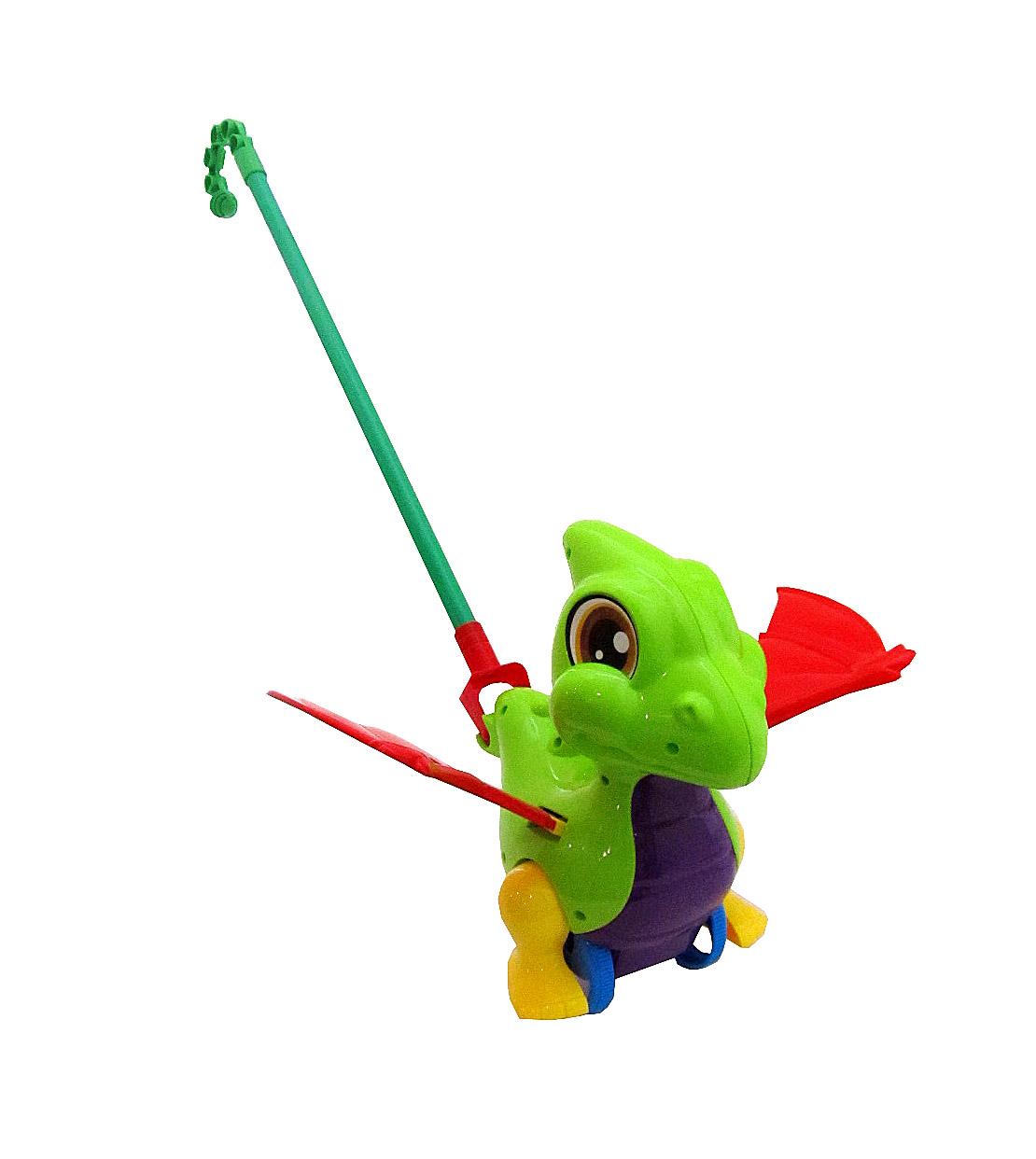 Каталка Динозаврик №0360 с ручкой/пакет/46*33*19,5