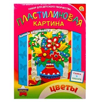 """Пластилиновая картина """"Цветы"""" (набор пластилин, стек, поле, рамка) (Арт. А-0940)"""