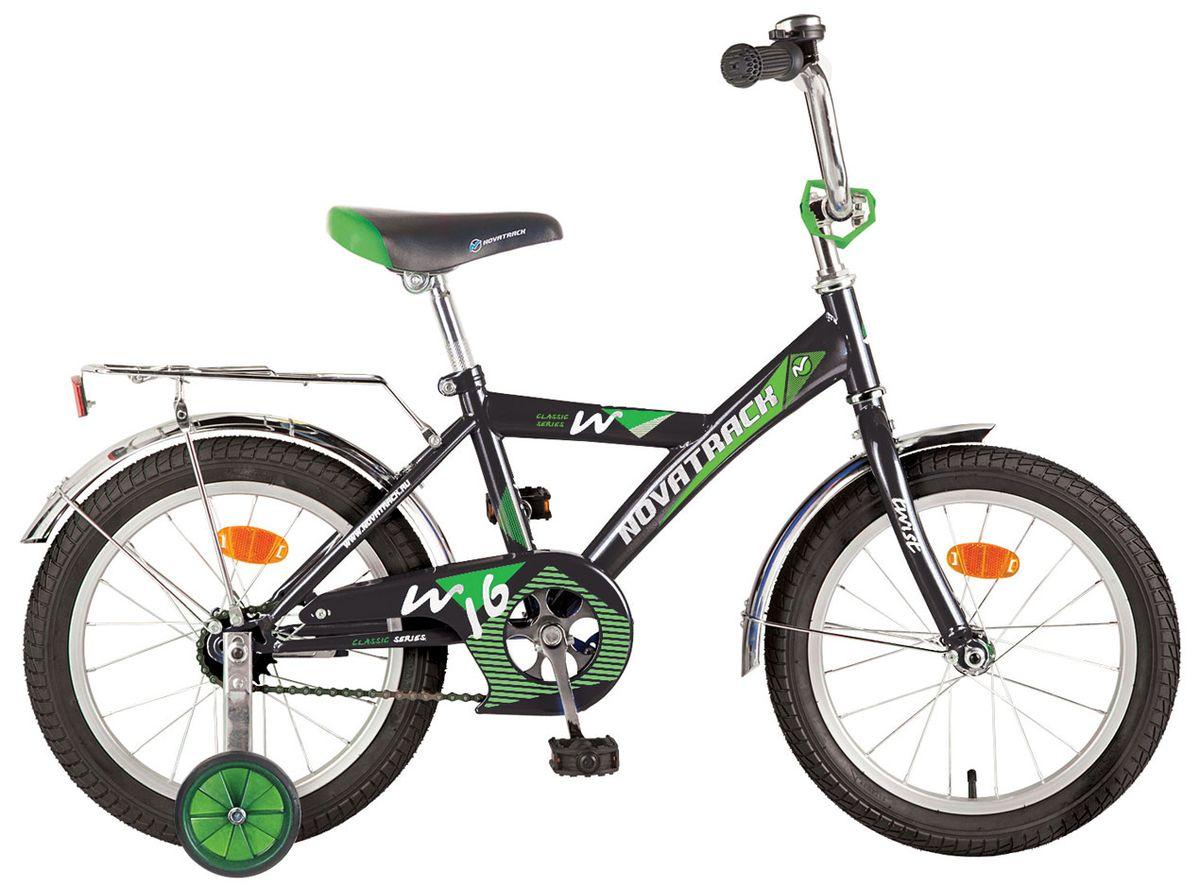 """Велосипед NOVATRACK 16"""" TWIST 17371, черный, тормоз нож, крылья цвет, багажник хром. #117043"""
