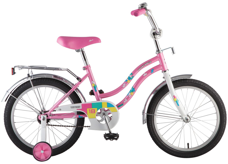 """Велосипед NOVATRACK 16"""" 16713 TETRIS, розовый, тормоз нож., крылья цвет., багажник хром. #098580"""