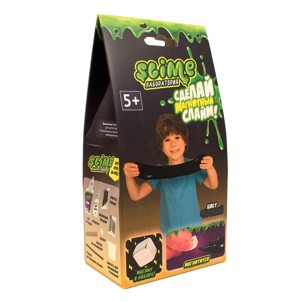 """Игрушка ТМ """"Slime""""100-6 Малый набор для мальчиков """"Лаборатория"""", черный магнитный, 100 гр."""