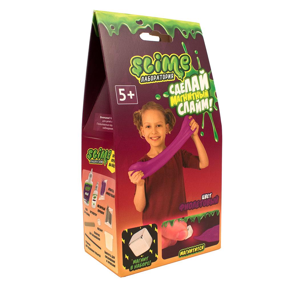 """Игрушка ТМ """"Slime""""100-3018  Малый набор для девочек """"Лаборатория"""", фиолетовый магнитный, 100 гр"""