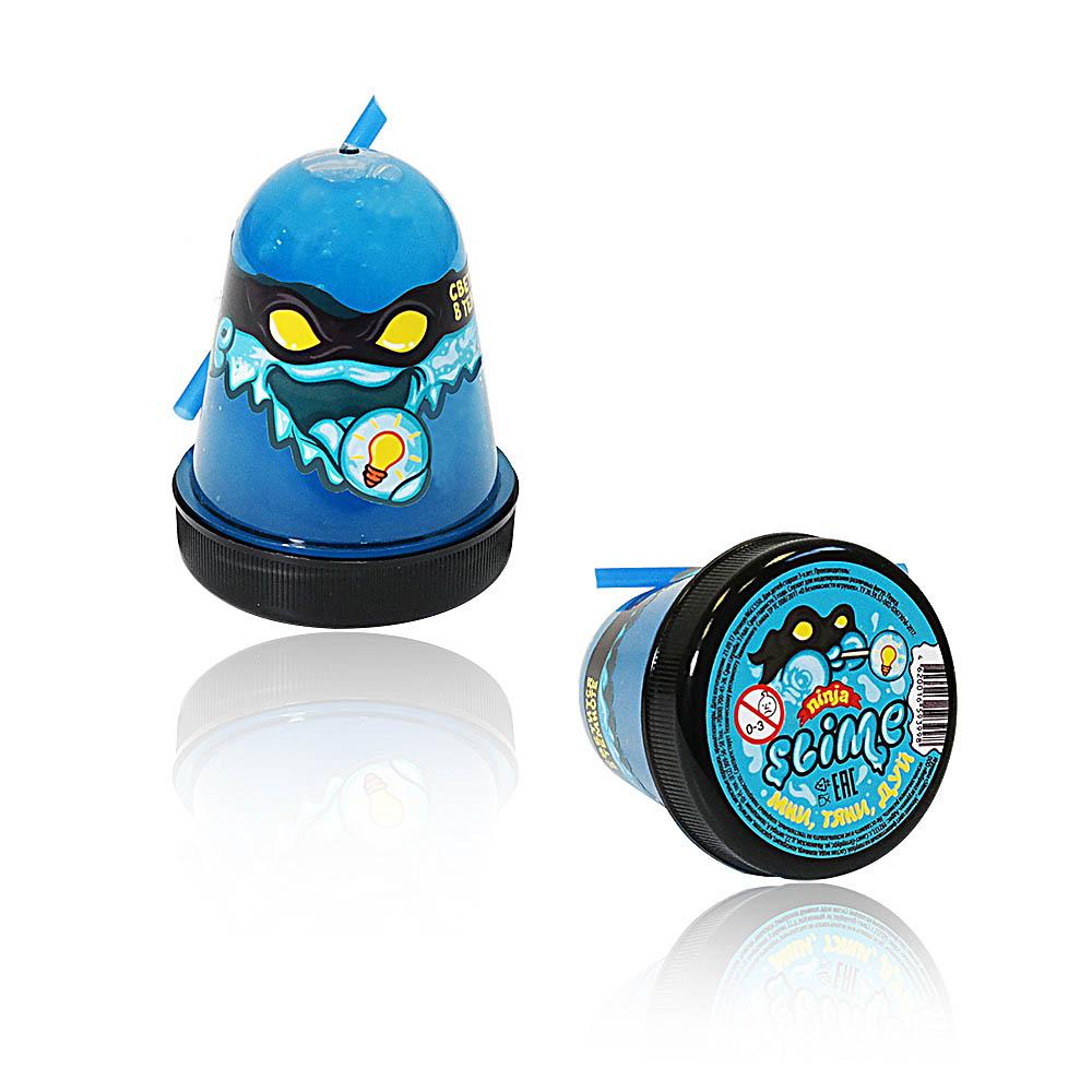 """Игрушка ТМ """"Slime """"Ninja""""130-20  светится в темноте, синий, 130 г."""