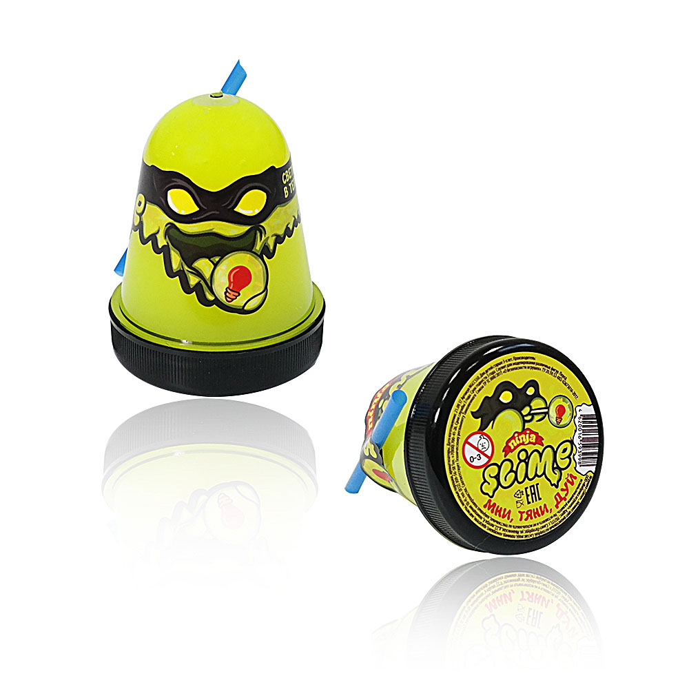 """Игрушка ТМ """"Slime """"Ninja""""130-19  светится в темноте, желтый, 130 г."""