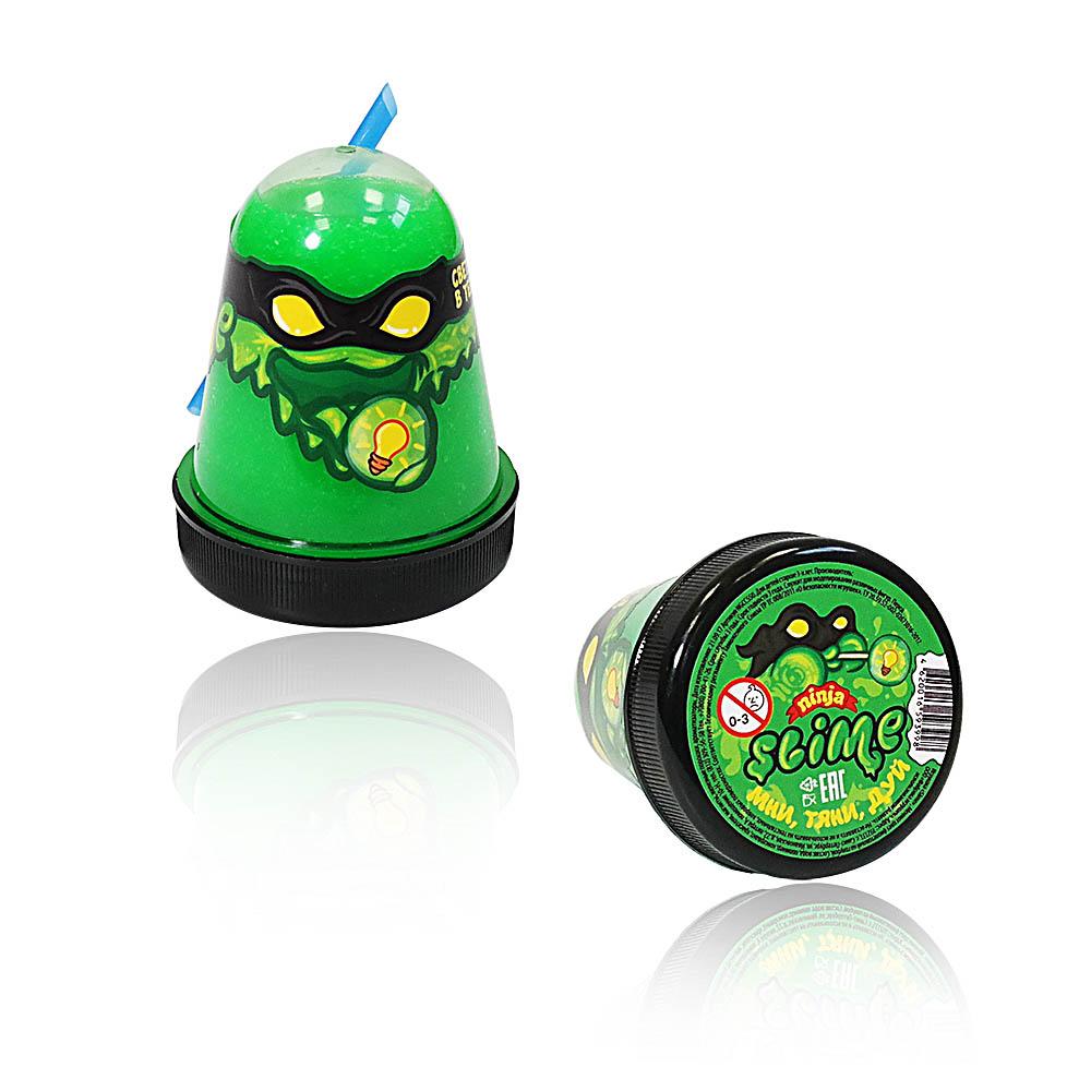 """Игрушка ТМ """"Slime """"Ninja"""" 130-18 светится в темноте, зеленый, 130 г."""