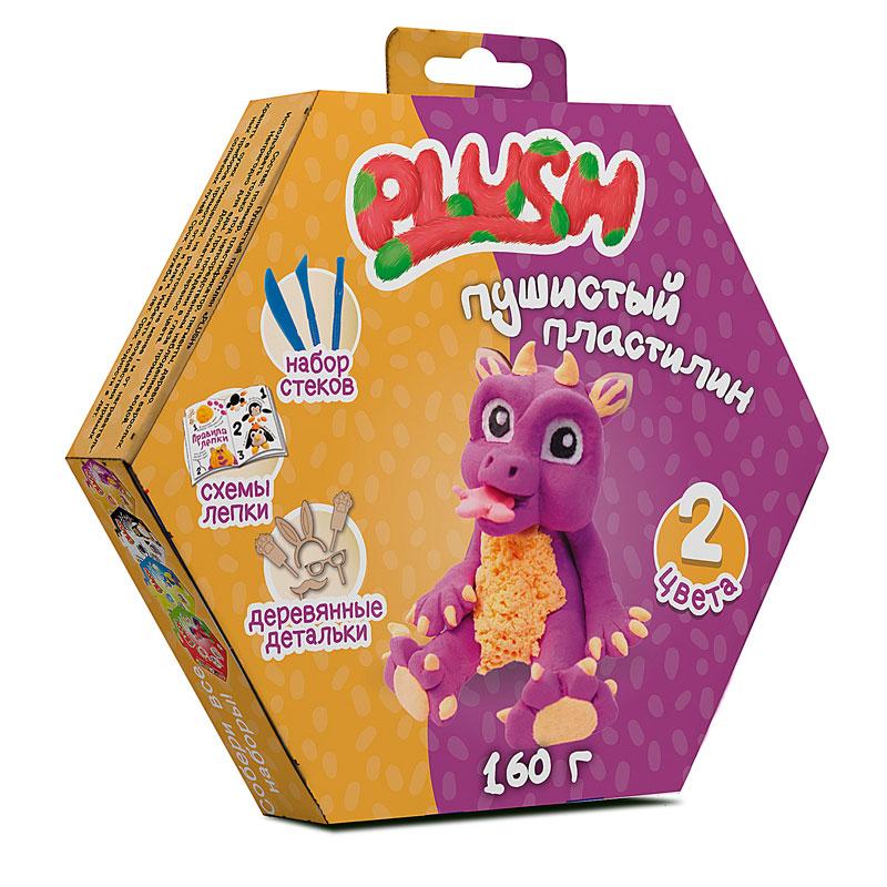"""Пушистый пластилин """"PLUSH""""PL02201808 набор для лепки фиолетовый + оранжевый 160 г на европодвесе"""