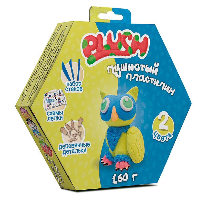 """Пушистый пластилин """"PLUSH"""" PL02201815 набор для лепки синий + желтый 160 г на европодвесе"""