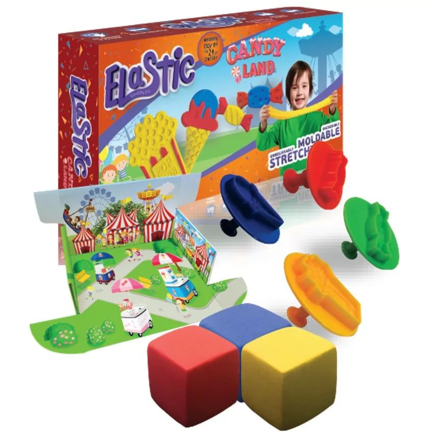 """Тянущийся пластилин PE0422 ТМ """"Эластик """"Candy land"""", желтый, синий, красный, формочки, книжка, 360гр."""