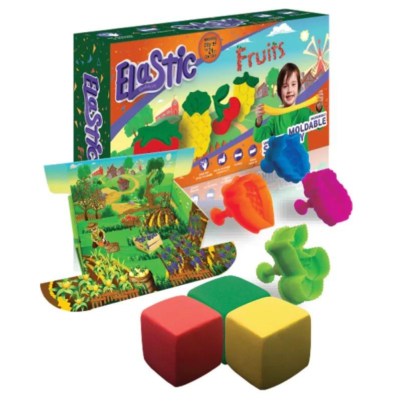 "Тянущийся пластилин ТМ ""Эластик ""Fruit"", желтый, зеленый, красный, формочки, книжка, 360 гр."