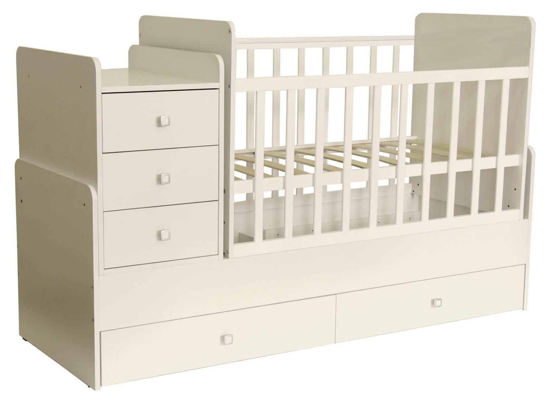 Кроватка детская Polini kids Simple 1100 с комодом, слоновая кость