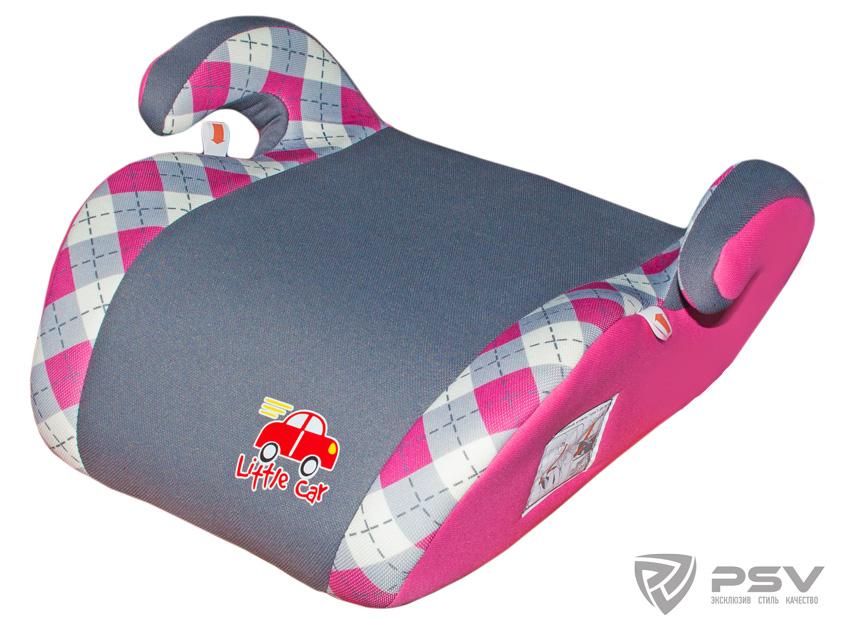 Бустер детский 22-36кг. Little Car Smart клетка-розовый 125791