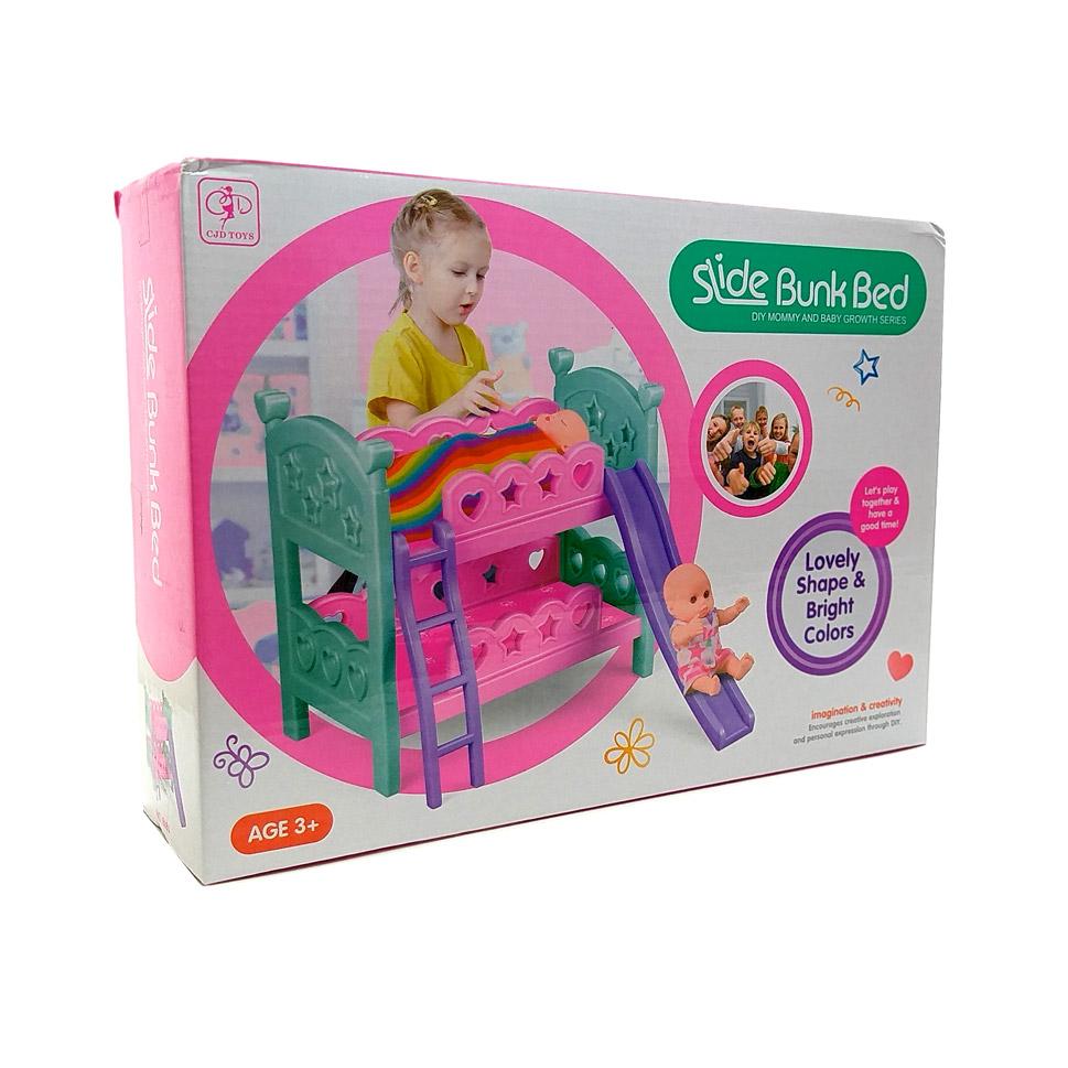 Кроватка №8686А двухъярусная для кукол с горкой/коробка/32*9*23