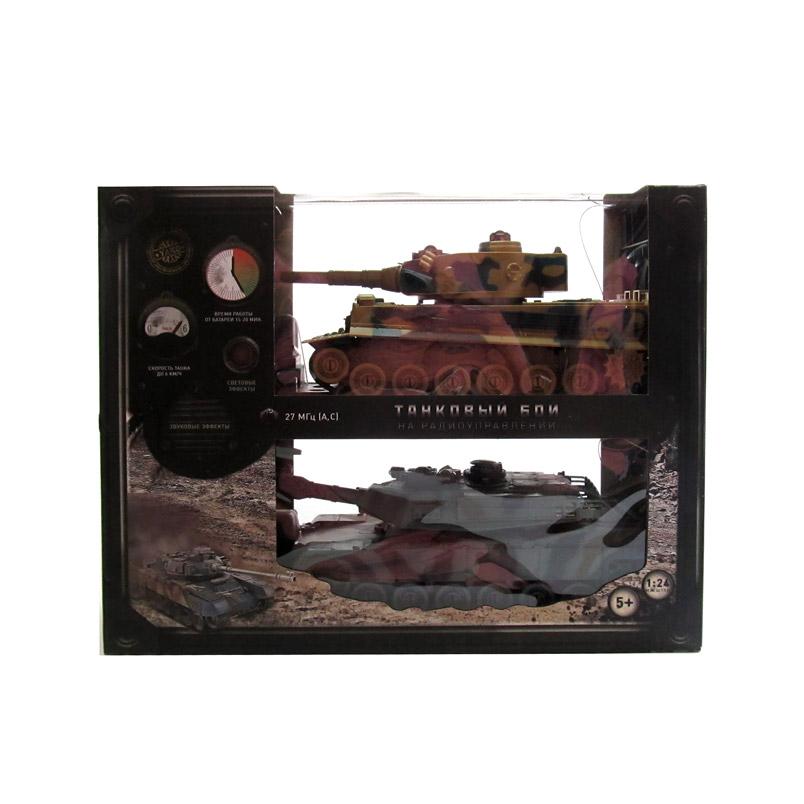 Радиоупр. машинка. Танковый бой. М1А2 против Тигра (2 танка 1:24, аккумул. в коробке 41x32 см) 6124