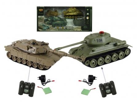 Танковый бой. Т34 против М1А2 (2 танка Р/У 1:32, аккумул. в кор. 34x19 см) Арт. 6130