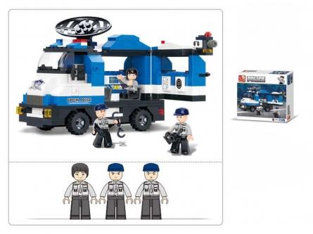 Конструктор пластик.SLUBAN.Полиция и спецназ.Передвижной центр спецназа (265 дет.,3 фигур) M38-B0187