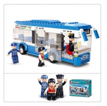 Конструктор пластиковый. SLUBAN Автобус.Одноэтажный автобус (235 деталей, 3 фигурки)  Арт. M38-B0330