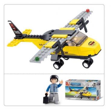 Конструктор пластиковый. SLUBAN Авиация.Тренировочный самолет (110 деталей,1 фигурка) Арт. M38-B0360
