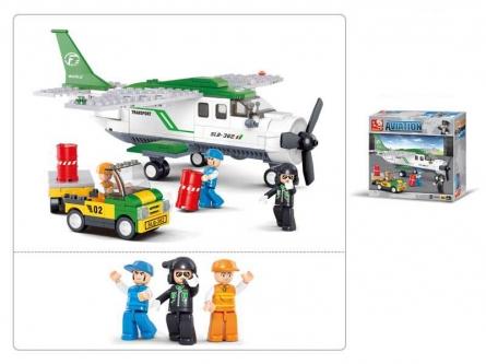 Конструктор пластиковый. SLUBAN Авиация.Транспортный самолет (251 деталь, 3 фигурки)  Арт. M38-B0362