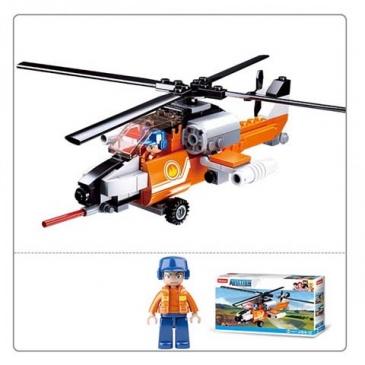 Конструктор пластиковый. SLUBAN Авиация. Пожарный вертолет (129 деталей, 1 фигурка) Арт. M38-B0667D