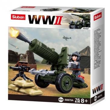 Конструктор пластик. SLUBAN.Вторая мировая война.Военная артиллерия (76 дет.,1 фигурка) M38-B0678A