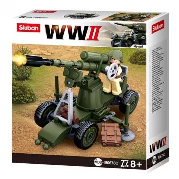 Конструктор пластик. SLUBAN. Вторая мировая война. Пулемет (76 деталей, 1 фигурка) Арт. M38-B0678C
