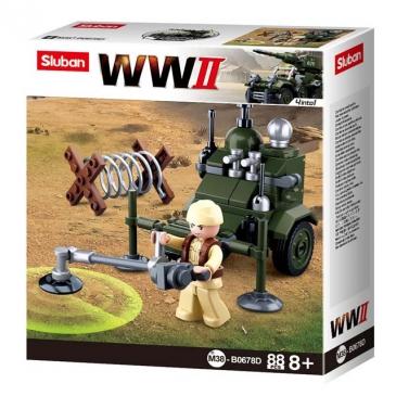 Конструктор пластиковый. SLUBAN. Вторая мировая война.Сапер 4 в 1 (88 деталей, 1 фигурка) M38-B0678D