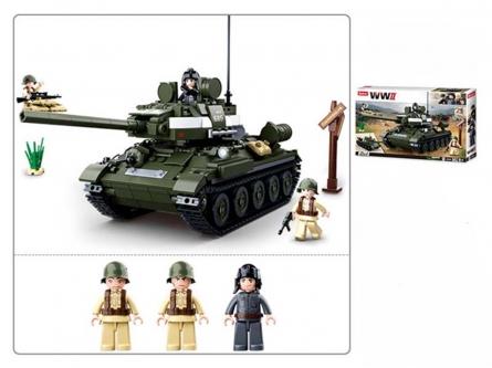 Конструктор пластиковый. SLUBAN. Вторая мировая война.Советский танк(687 деталей, 3 фигур) M38-B0689