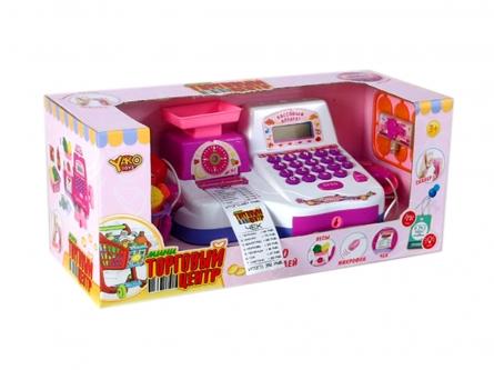 Игровой набор: Касса. Торговый центр-4 (свет, звук, калькулятор, продукты, в коробке) Арт. M6856