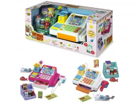 Игровой набор: Касса. Торговый центр-2 (свет, звук, калькулятор, продукты) Арт. M7447-2
