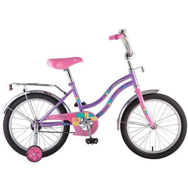 """Велосипед NOVATRACK 18"""", 16705 TETRIS,фиолетовый,тормоз нож.,крылья цвет,багажник хромир.,"""