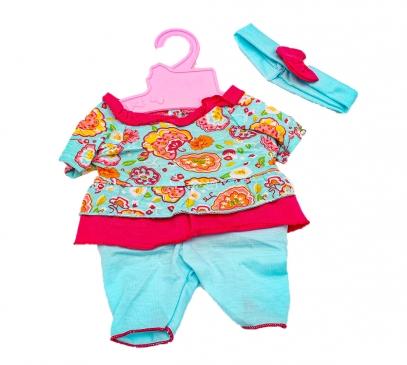 Y16203349 Аксессуары для куклы. Голубой костюмчик с повязкой для пупса 42 см.