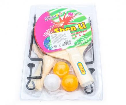 S22 Набор для пинг-понга. СПОРТ (деревянные ракетки, шарики)