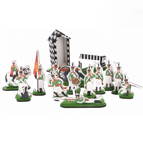 Большой набор солдат-12 героев, подвижный шлагбаум, постовая будка (39 предметов