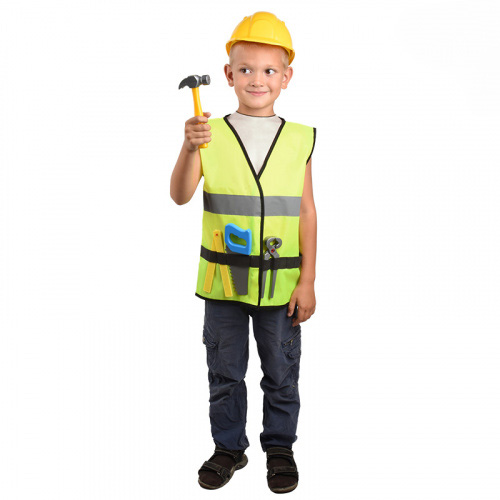 81019Набор строителя (каска, жилет, молоток, линейка, пила, кусачки) (18шт)
