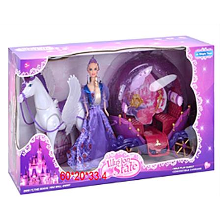 Карета №234А с Пегасом и куклой/коробка/60*20*33,4