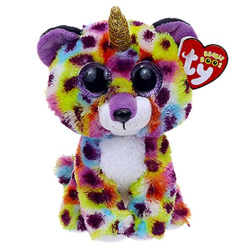 35229 BB GISELLE Разноцветный леопард с рогом, игрушка-брелок 10 см