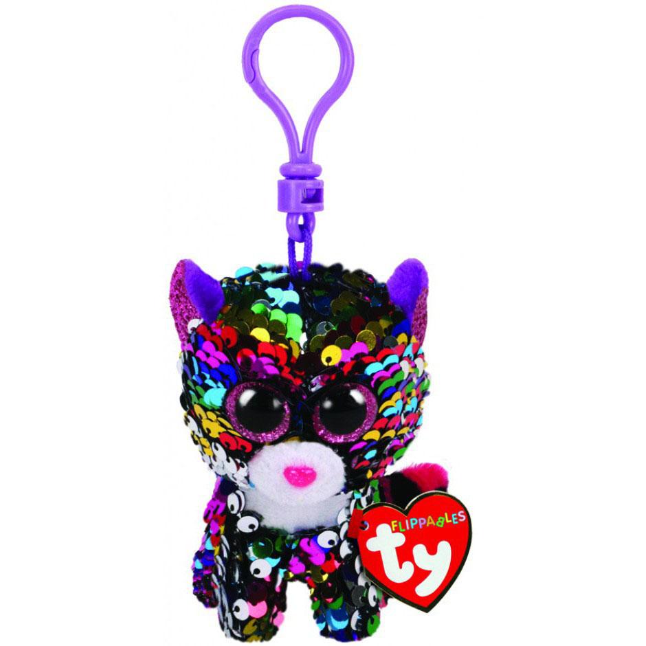 35301 TY Flippables DOTTY - разноцветный леопард в пайетках, игрушка-брелок 10 см