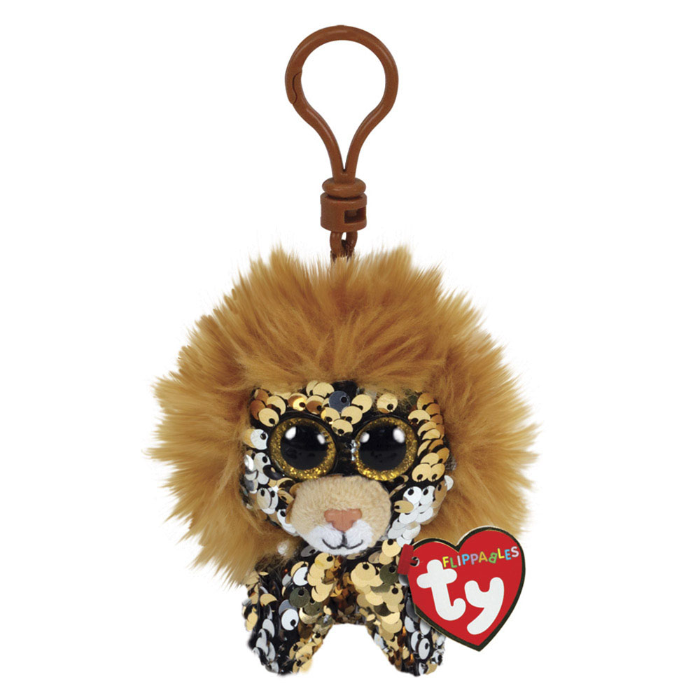 35310 TY Flippables REGAL - лев, игрушка-брелок 10 см в пайетках