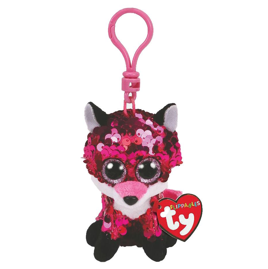 35303 TY Flippables JEWEL розовая лиса в пайетках, игрушка брелок 10 см