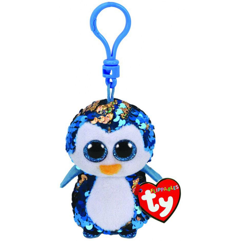 35302 TY Flippables PAYTON - голубой пингвин в пайетках, игрушка-брелок 10см