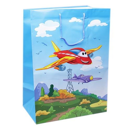 Пакет подарочный, ламинир. 32,4х44,5х20 см ДРУЖНЫЕ САМОЛЕТИКИ (ПР005-0007)