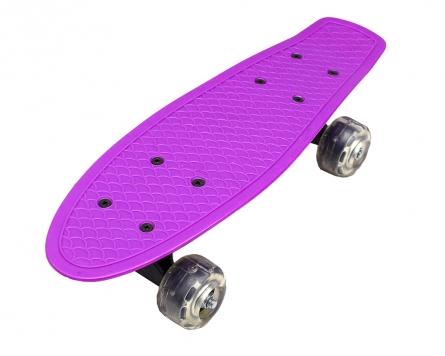 14085 Скейтборд пластик. Мини (колеса ПВХ 42 см, свет) (3 цвета микс)