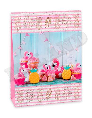 Optima Пакет подарочный с глянцевой ламинацией 22х31х10 см (ML) Вечеринка с фламинго, 128 г ПГ-1756