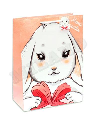 Пакет подарочный Dream Cards мат.лам 26.4х32.7х13.6 см Зайка с подарком (L) П014-0013