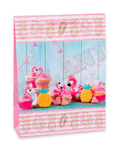Optima Пакет подарочный с глянцевой ламинацией 26,4х32,7х8 см(L), Вечеринка с фламинго,128 г ПГ-1731