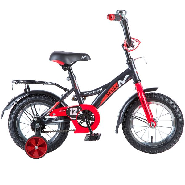 """Велосипед NOVATRACK 12"""", STRIKE, чёрный-красный, тормоз нож., крылья и багажник чёрн., 125958"""