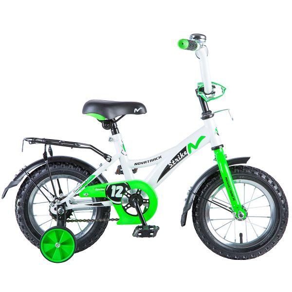 "Велосипед NOVATRACK 12"", STRIKE, белый-зелёный, тормоз нож., цветн.крылья, багажник чёрн., 125955"