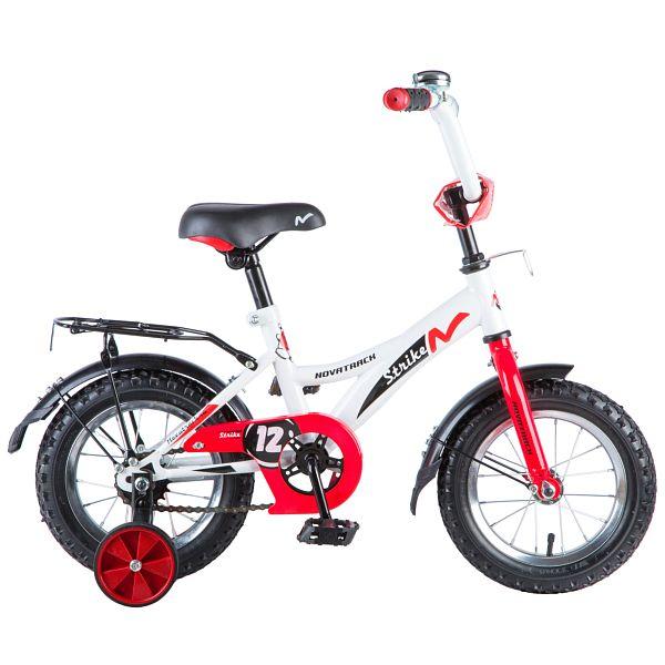 "Велосипед NOVATRACK 12"", STRIKE, белый-красный, тормоз нож., цветн.крылья, багажник чёрн., 125956"