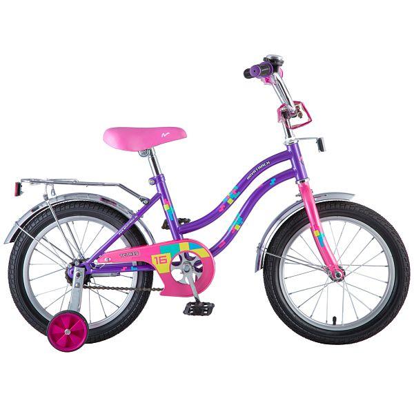 """Велосипед NOVATRACK 16"""", TETRIS, фиолетовый, тормоз нож., крылья цвет., багажник хром. 098579"""